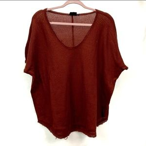 Urban Outfitters Flowy Waffle Knit Top Rust orange